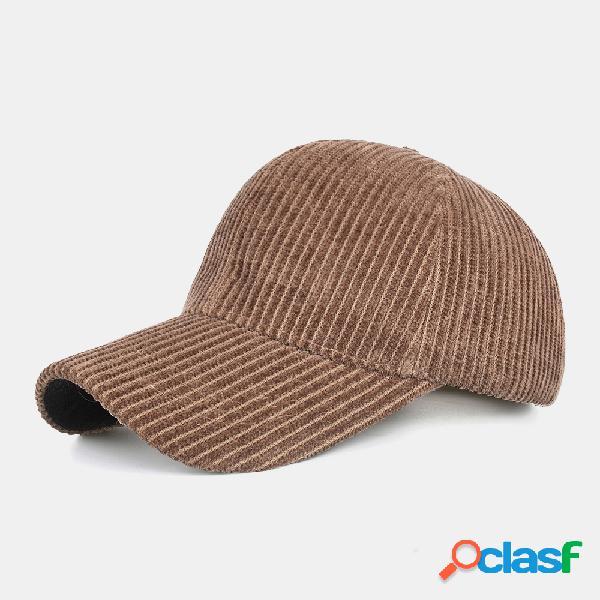 Stripe unsiex veludo cor sólida padrão casual ao ar livre inverno mantenha aquecido protetor solar beisebol chapéu