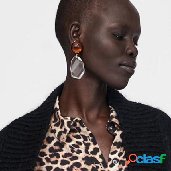 Brincos de gota de orelha de declaração multicolor irregular geométrica resina boêmio brincos para mulheres
