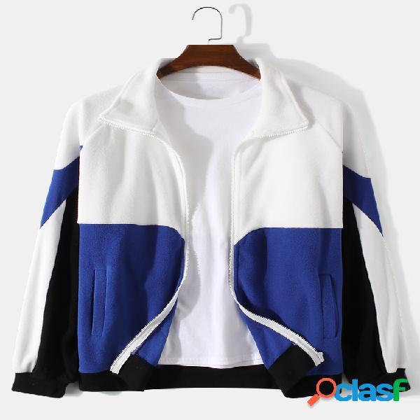 Masculino colorblock patchwork zip front lapel casacos casuais manga raglan