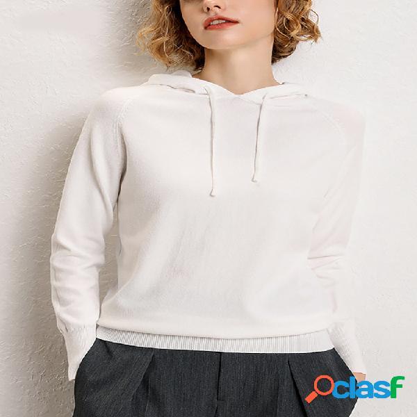 Suéter feminino com capuz e manga comprida com cordão de cordão