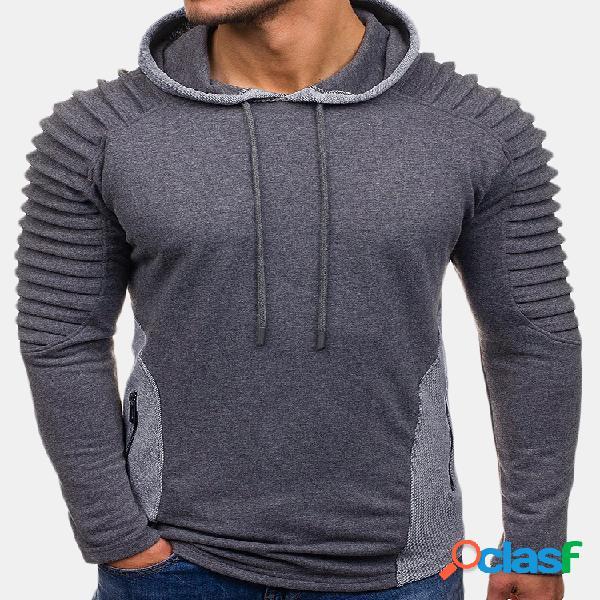 Mens casual costura com cordão dobre design camisola de manga longa de algodão hoodies