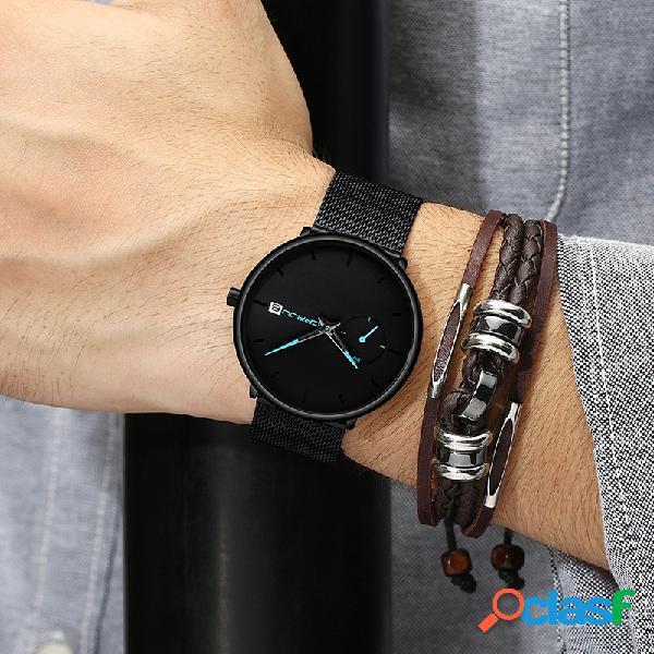 Relógio fashion masculino de quartzo com mostrador simples e brilhante agulha de exibição de dia relógio de quartzo fino