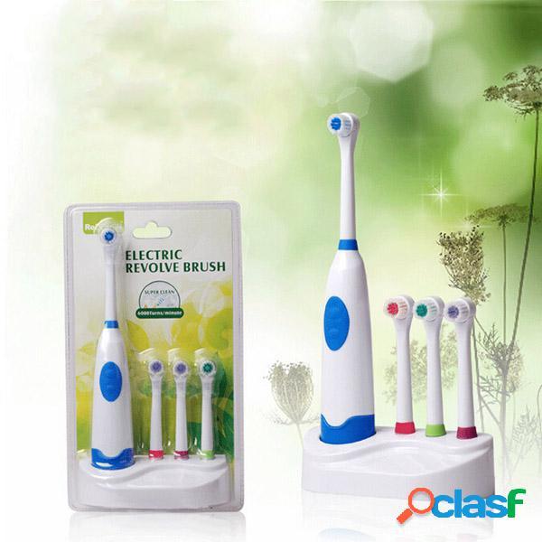 Escova de dentes elétrica ultra-sônica da rotação impermeável com cabeça da escova da substituição 3pcs