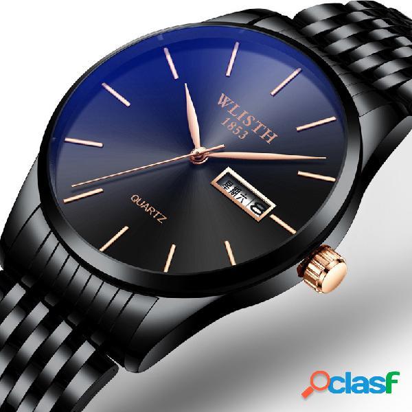 Relógio de cintura de aço inoxidável empresarial moda simples relógio de quartzo à prova d'água
