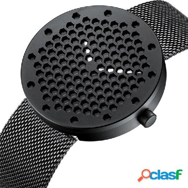 Relógio de moda masculino com mostrador de favo de mel de aço inoxidável relógio de cintura de couro à prova d'água
