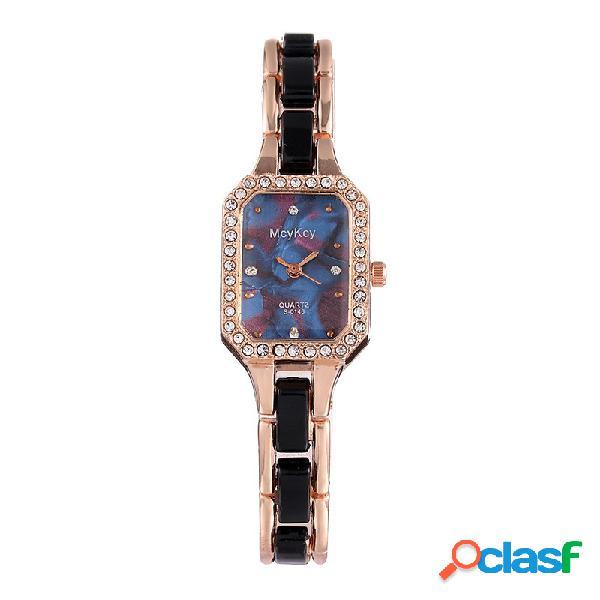 Trendy shell dial mulheres assista casual relógio de quartzo quadrado relógio de aço inoxidável rhinestone
