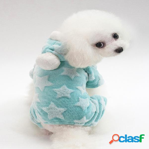 Pet dog star fleece inverno camisola morna filhote de cachorro de inverno sleepwear nightclothes