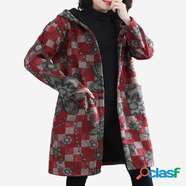 Casaco de mangas compridas com capuz e estampa floral xadrez