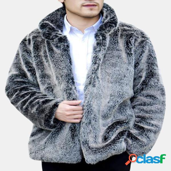 O casaco de pele de casaco de pele de raposa de pele de falso de homens que engrossa o casaco quente