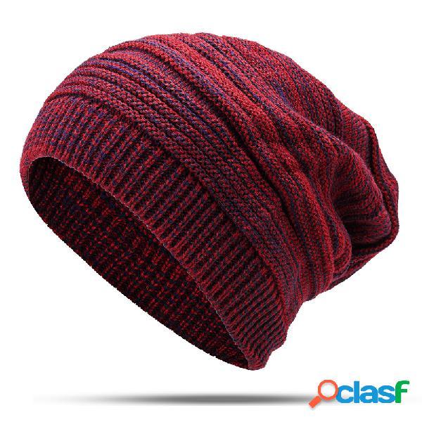 Lã étnica feminina de listra tricotada chapéu vintage quente boa elástica chapéu gorro casual