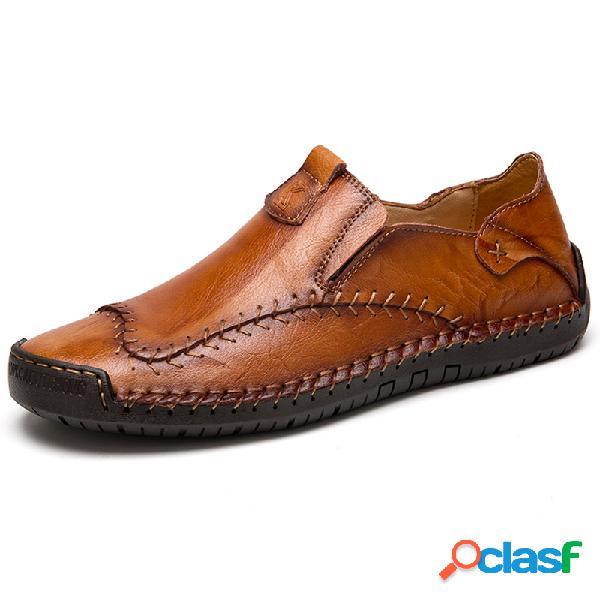 Menico homens mão costura antiderrapante tamanho grande soft sola sapatos de couro casuais