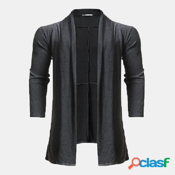 Mens casual cor sólida hem irregular mid long draped cardigans de lã