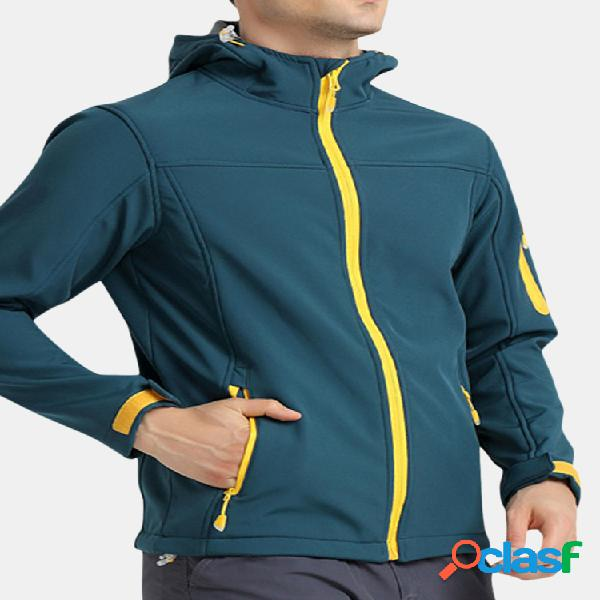 Mens fleece warm waterproof sport caminhadas ao ar livre à prova de vento soft shell casaco com capuz casual