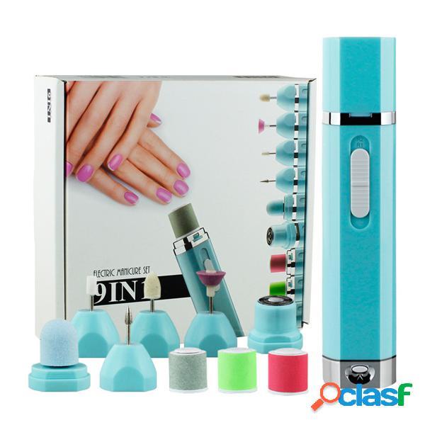 9 em 1 elétrica prego máquina de broca set substituição handpiece pen manicure pedicure ferramenta