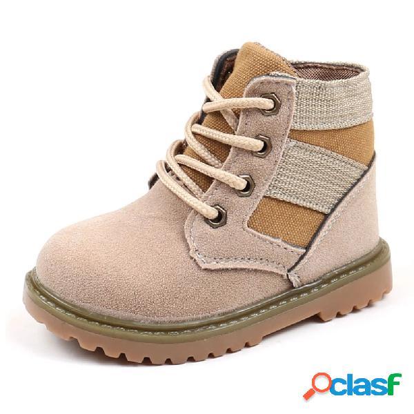 Costura lace up meninos meninas soft sola botas curtas para criança e crianças
