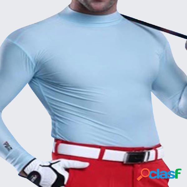 Homens camisas de golfe gelo slik collants manga comprida cor sólida o-pescoço vestuário