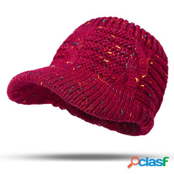 Lã quente feminina soft faixa de cabelo tricotada tricotagem de rabo de cavalo capa vazia de ponto de cor superior chapéu