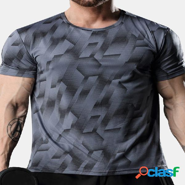 Mens de secagem rápida respirável elástica casual top treinamento t-shirt de manga curta