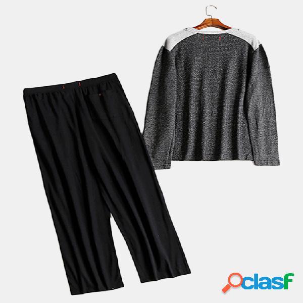 Patchwork design plus tamanho algodão pijamas de seda para homens
