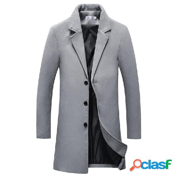 Casaco masculino médio longo cor sólida única peito slim fit empresarial casual