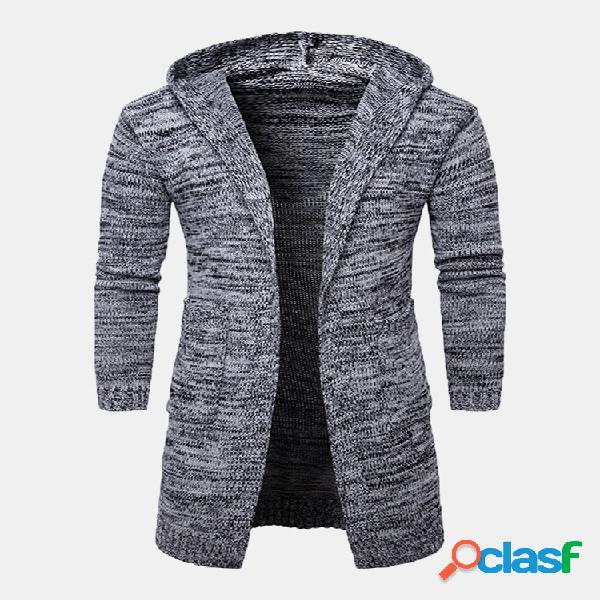 Mens sweater cardigan grosso quente mid-long manga comprida com capuz casual cotton outwear
