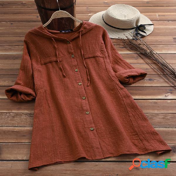 Blusa de manga comprida com capuz e cordão em cor sólida