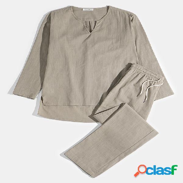 Masculino plus tamanho algodão respirável duas peças yoga pijamas confortáveis para casa conjunto