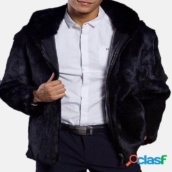 Mens com capuz faux fur inverno quente slim fit manga comprida preta casual jacket