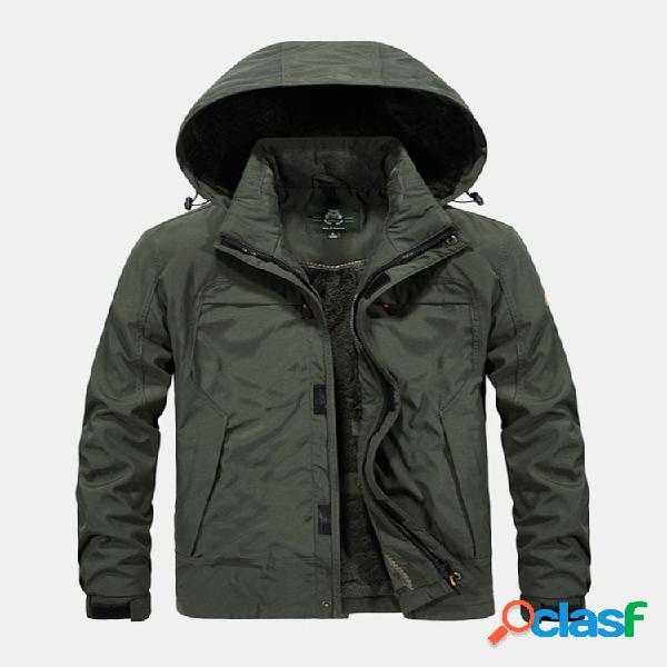 Mens plus tamanho windproof respirável espessar velo multi bolsos com capuz casaco quente