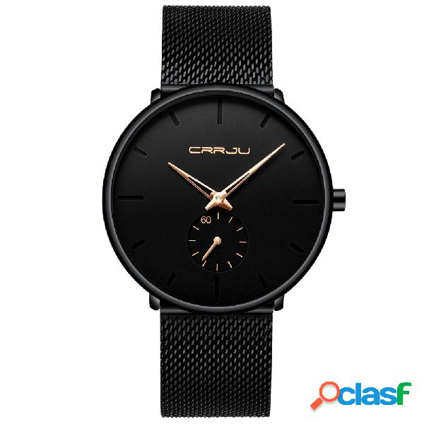 Relógio de quartzo da moda com mostrador simples agulha brilhante à prova d'água fino relógio de quartzo masculino