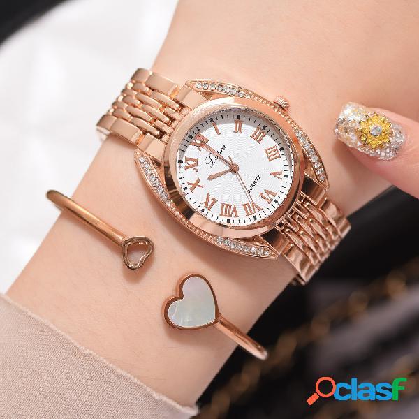 Relógio de quartzo de número romano na moda relógio de mulheres de aço inoxidável casual