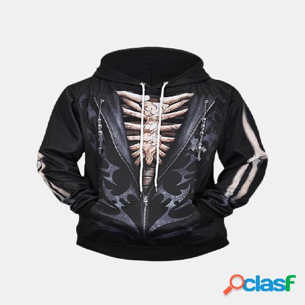 Mens caveira 3d impressão hoodies com cordão casual plus tamanho solto camisola de manga longa