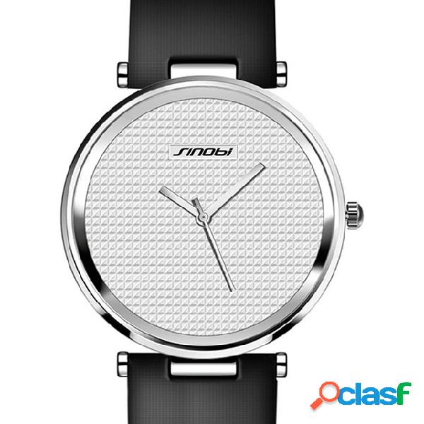Relógio de quartzo de estilo casual relógio de pulso unisex ultra fino relógio de pulseira de couro genuíno