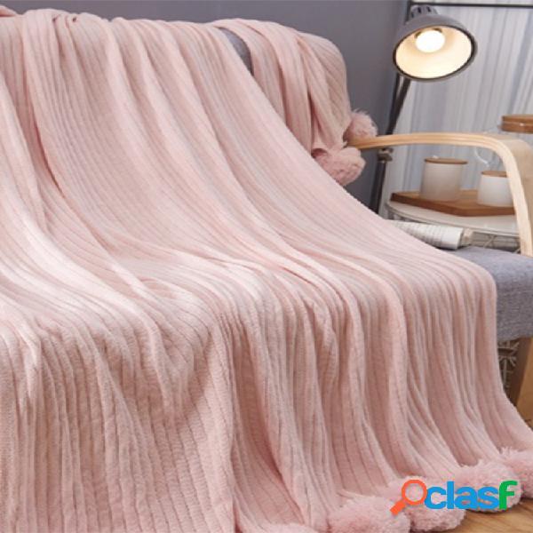 Cobertor lance 150x100cm texturizado sólido soft sofá sofá cobertor decorativo de malha