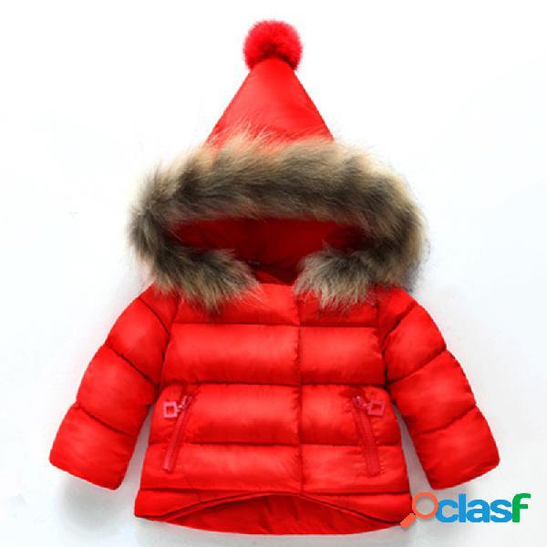 Cor sólida meninas casaco quente grosso com pele grande chapéu para 1y-9y
