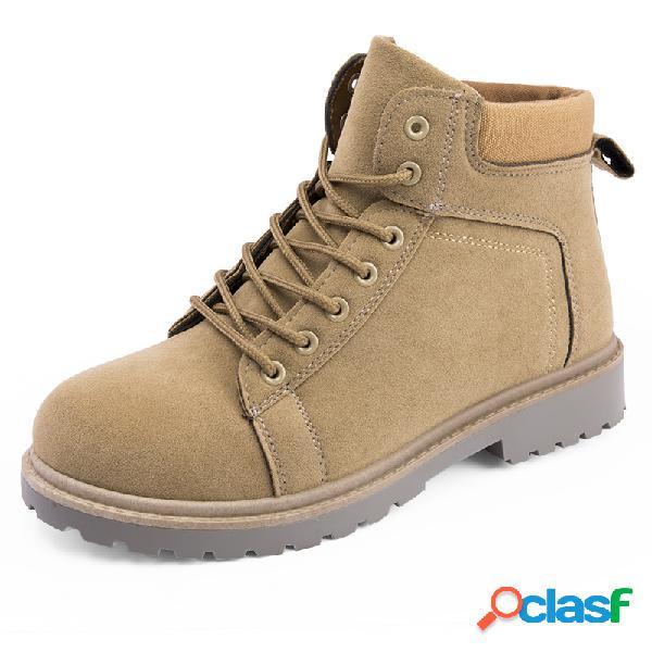 Homens pure color slip resistant soft sole botas de couro casual