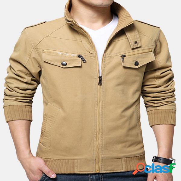 Jaqueta masculina outono militar casual cor sólida gola de algodão