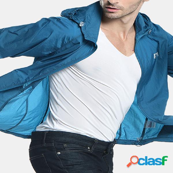 Protetor solar ultraleve portátil ao ar livre rapidamente seco com capuz repelente de água fina jaquetas para homens