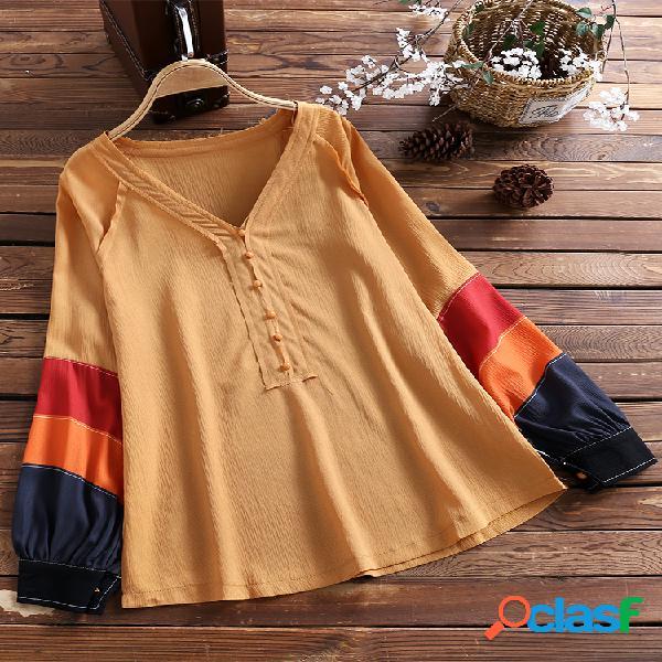 Camisa de manga comprida com decote em v manga solta retrô