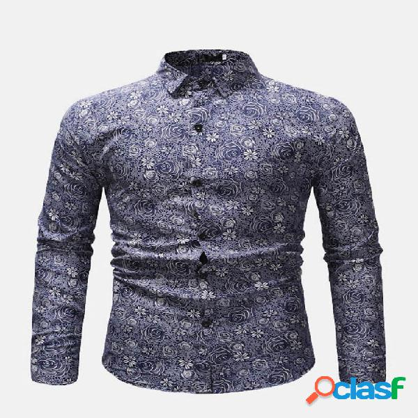 Casual floral impresso turn down collar manga comprida business camisa for men