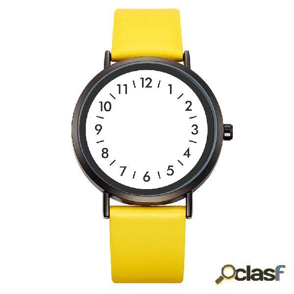Relógio de quartzo estilo casual mostrador criativo moda feminina de couro impermeável banda relógio de quartzo