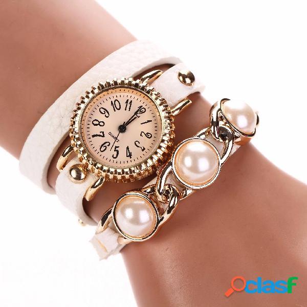 Relógio moderno com pulseira de pérolas, três camadas, relógio de couro, estilo moderno, relógio de quartzo à prova d'água