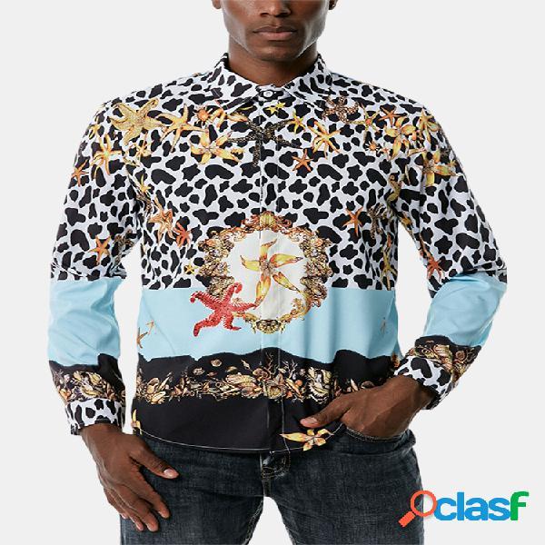 Camisas masculinas de manga comprida com estampa de patchwork com estampa diária de leopardo e estrela do mar