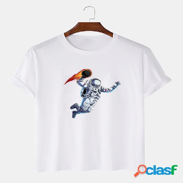 Camiseta masculina 100% algodão engraçado estampado astronauta solto fino respirável