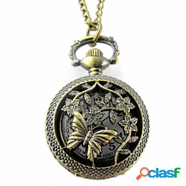 Relógio de bolso de relógio de bolso de borboleta oco vintage relógio de bolso de relógio de quartzo marrom redondo
