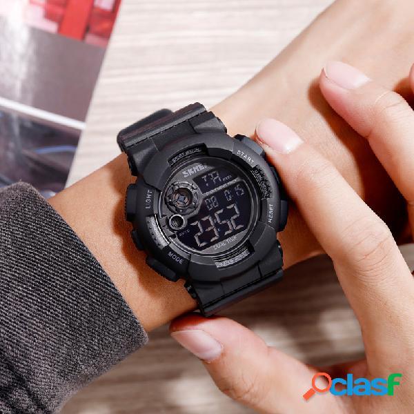 Relógio multifuncional masculino abs caso pulseira de pu ajustável luminoso dive relógio digital