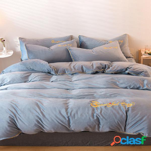 4 unidades de bordados de veludo cristal estilo nórdico de inverno simples cores puras roupas de cama de veludo coral