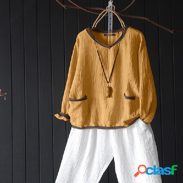 Blusa vintage patchwork manga longa de algodão plus tamanho