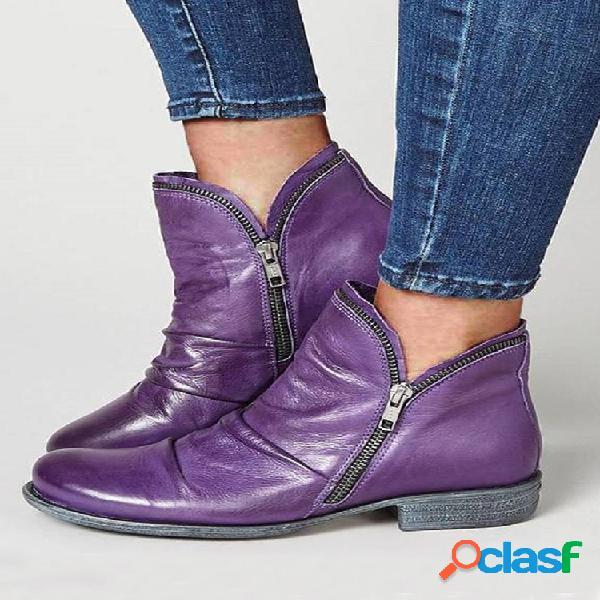 Botas de tornozelo achatadas casuais com zíper lateral feminino tamanho grande e cor sólida