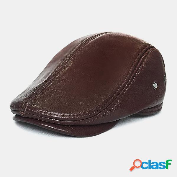 Homens couro genuíno retro casual cor sólida proteção do pescoço couro frente chapéu boina chapéu